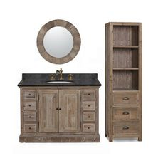 Photo Album Website  inch Marble Top Single Sink Rustic Bathroom Vanity with Matching Wall Mirror and Linen
