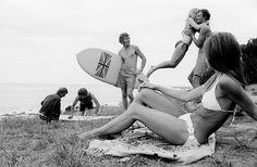 Sixties' surf culture in Australia: 'Union Jack', Lorne, Victoria, (photo by Rennie Ellis) Documentary Photographers, Great Photographers, Union Jack, Surfing Uk, Australian Photography, Australian Art, Vintage Surf, Vintage Bikini, Victoria