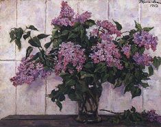 Lilac Painting, Lilac Bouquet, Still Life Art, Russian Art, Floral Wreath, Wreaths, Drawings, Plants, Pictures