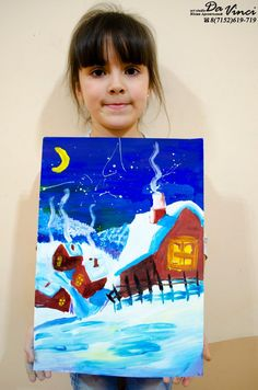 Childrens Drawings, Winter Art Projects, Kids Art Projects, Christmas Paintings, Winter Art Lesson, Painting For Kids, Holiday Art, Drawing For Kids, Cute Art Projects