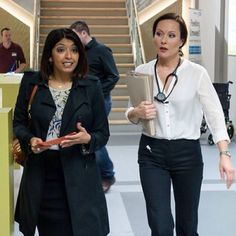 Connie & Zoe. QUEENS OF THE ED Summer Heights High, Bbc Casualty, Private School Girl, Fawlty Towers, Holby City, Broadchurch, Medical Drama, Smart Outfit, English Actresses