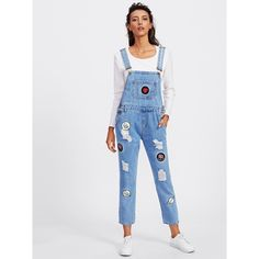 SheIn(sheinside) Embroidered Patch Ripped Overalls ($26) ❤ liked on Polyvore featuring jumpsuits, blue, blue jumpsuits, blue overalls, jump suit, blue jump suit and bib overalls