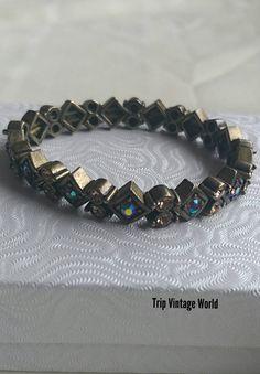 Pretty Vintage Ephemera Black Acrylic Elasticated Bracelet