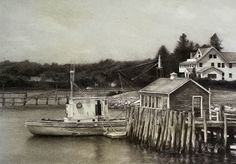 "Boothbay Afternoon | Jodie Kain | charcoal & white conté on toned paper | 2018 | 16""x 11.5"" Boothbay Harbor, Toned Paper, Conte, Art And Architecture, Charcoal, Artwork, Painting, Work Of Art, Auguste Rodin Artwork"