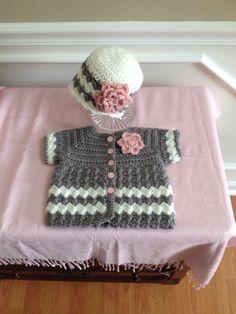 Grey Chevron Sweater Set - Baby Crochet Set - Grey Pink White - 6-12 Months - Cardigan - Coat - Jacket