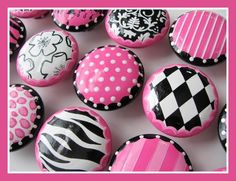 Drawer Knobs Hand Painted-Large 2 inch size- Pink Black and White, Chandelier, Diamond, Zebra, Damask- Diva Collection Pebble Painting, Pebble Art, Stone Painting, Rock Painting, Funky Furniture, Painted Furniture, Furniture Stores, Furniture Outlet, Japanese Furniture