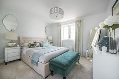 An elegant bedroom design with teal coloured accessories that add an uplifting touch to the room. Long Melford, Elegant Bedroom Design, New Homes For Sale, Teal Colors, Touch, Interiors, Accessories, Furniture, Home Decor