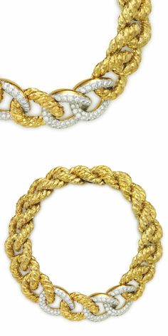 A DIAMOND, GOLD AND PLATINUM NECKLACE, BY DAVID WEBB: Designed as a twisted rope motif of fluted cable links, with a hinged link clasp, set at the front with circular-cut diamonds, 13 1/2 ins., mounted in platinum and 18k gold, with an extra gold link. Signed Webb for David Webb. Via Christie's.