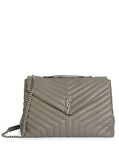 Saint Laurent Large Slouchy Monogram Quilted Leather Chain Shoulder Bag