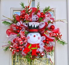 Mr. Snowman Christmas Holiday Wreath with fun by 4allseasons