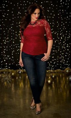 Smitten Lace Plus Size Top at Kiyonna
