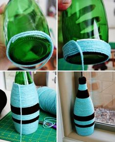 Vases of bottles with their own hands - 29 photos with ideas for creativity - Glass and plastic bottles have a wide variety of shapes and sizes, which makes them an excellent material for making vases. Crafts For Kids, Diy Crafts, Recycling, Diy Home Decor On A Budget, Diy Home Improvement, Bottle Crafts, Plastic Bottles, Dollar Stores, Water Bottle