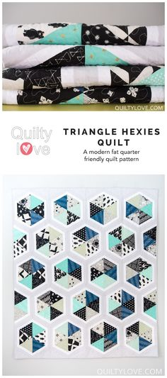 Triangle Hexies quilt by emily of quiltylove.com. Modern hexagon quilt. Fat quarter friendly quilt pattern. Cotton and steel triangle hexies quilt.