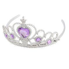 HTHL Plastic Woman Wedding Faux RhInestone Tiara Headband Silver Tone Purple