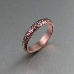Texturized Copper Ring - Artful elegance is at your finger tips with this beautiful Texturized Copper Ring. The rich and warm rose-gold tones and hand-texturing adds a distinctive visual interest that compliments the sleek domed edge, at a fraction of the price! Makes a great Wedding Band, Engagement Ring, Commitment Ring, or an every day ring.