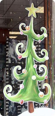 Mickaëlle Delamé: Vitrines peintes de Noël sur Agen Christmas Store, Christmas Signs, Christmas Art, Painting On Glass Windows, Window Mural, Office Christmas Decorations, Pintura Country, Theme Noel, Christmas Paintings