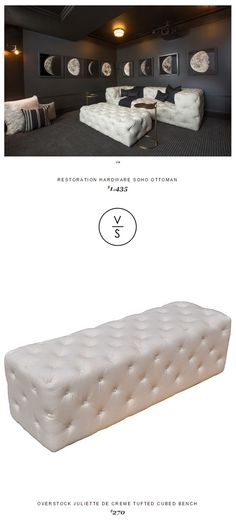 Restoration Hardware Soho Ottoman $1,435 Vs @overstock Juliette De Creme Tufted Cubed Bench $270