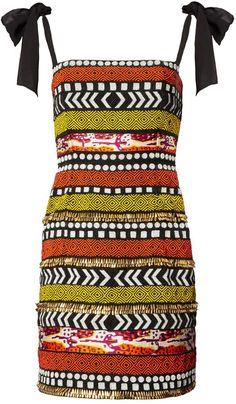 Orange & Black Tribal Beaded Dress