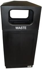 Commercial Outdoor 39 Gallon Trash Can - Black Square Enclosure
