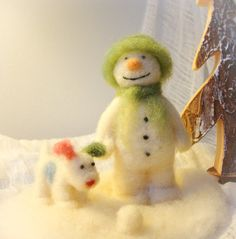 The Snowman and his Snowdog  Wool Needle Felt by madamecraig, £50.00