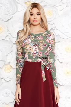StarShinerS khaki office women`s blouse with floral prints slightly elastic fabric accessorized with tied waistband, large collar, floral prints, accessorized with tied waistband, long sleeves, slightly elastic fabric