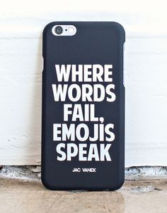 """Sometimes, words just don't cut it and you need to express your feelings solely through emojis. The """"where words fail, emojis speak"""" case fits the iPhone 6. Throw it on your phone so you never have to"""