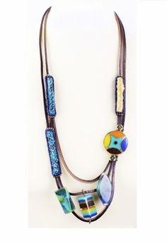 collier mode en sautoir cuir et perles colorées http://www.diabolobijoux.com/fr/collier/943-collier-mode.html