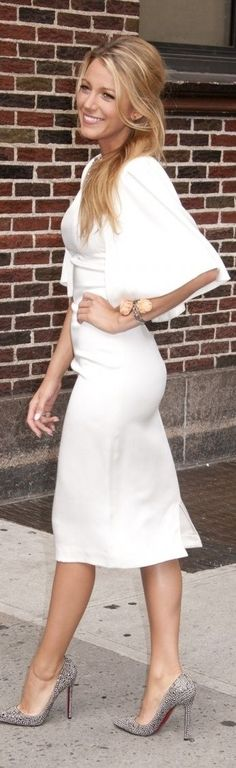 white dress + silver studded heels