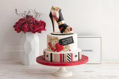 Chanel Sugar Shoe (and a Designer Cake to Match) — De la Crème Creative Studio French Vanilla Cake, Birthday Wishes Flowers, Handbag Cakes, White Chocolate Mousse, Caramel Buttercream, Shoe Cakes, Chanel, Boy Birthday, Birthday Cake