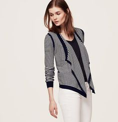 Petite Striped Cotton Open Cardigan