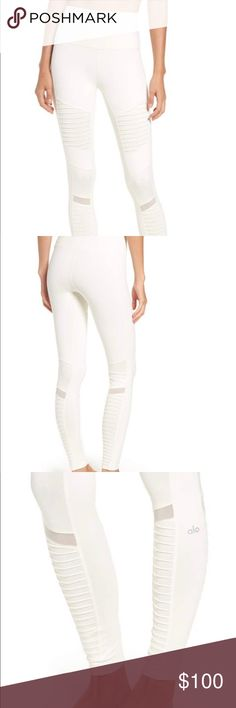 NWT!!! gorgeous Alo yoga high waist moto legging Beautiful ALO YOGA high waist white moto legging. I LOVE these but received them as a gift and they are a little to small for me. They are a size XS and I usually wear a S/M. ALO Yoga Pants Leggings