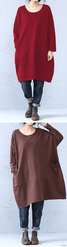 O-NEWE Casual Women O-Neck Pockets Long Sweatshirts. Casual Style, Loose Style, Long Sleeve, Batwing Sleeve, O-Neck, Color:Black,Brown,Coffee,Wine Red. Size:L,XL,XXL,XXXL,XXXXL,5XL. Buy now! #hoodies #sweatshirts #tops #outfit