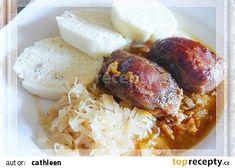 Vepřová líčka na černém pivě recept - TopRecepty.cz Sausage, French Toast, Grains, Beef, Breakfast, Food, Meat, Meal, Sausages