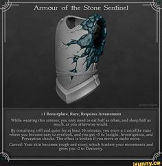 Magic Armor - Armor of the Stone Sentinel Dungeons And Dragons Homebrew, D&d Dungeons And Dragons, Fantasy Armor, Fantasy Weapons, Assasins Cred, Magic Armor, Dnd Funny, Dnd 5e Homebrew, Dnd Monsters