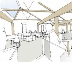 An artist's impression of the upper storey shows how the timber elements will be left exposed - Image - Timber and Sustainable Building