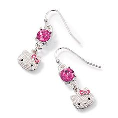 Textured silvertone Hello Kitty pierced earrings with faceted faux pink stones. Fish hook with rubber stopper. Comes in a Hello Kitty graphics box. <br><br>Hello Kitty© 1976, 2013 Sanrio Co., Ltd. Used Under License.