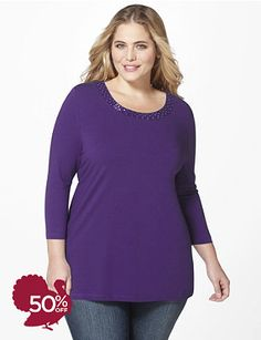 a002f802b45 ... and two-tone beads accent the scoop neckline. Complete with  three-quarter sleeves. Sweater not included. Catherines tops are designed  for the plus size ...