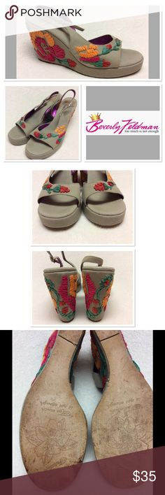 """9M BEVERLY FELDMAN flower wedges w/rhinestones Khaki color wedges with multi color flower designs and adjustable rhinestone encrusted buckle on ankle strap. Leather soles. 4"""" heel with 1"""" platform. Shoes are in good gently used condition. They are very unique. Beverly Feldman Shoes Wedges"""