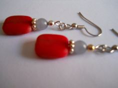 Beadwork Bright Red Dangle Earrings Pale Grey by chicagolandia, $15.00
