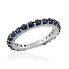 Liquidation Channel | Kanchanaburi Blue Sapphire Eternity Ring in Platinum Overlay Sterling Silver (Nickel Free)