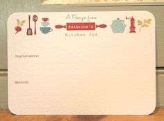 New for 2013 our unique Personalised Recipe Cards make the perfect gift for any cook!    Our Recipe Cards have a retro vintage feel to the design and will look great in any vintage or modern kitchen. Printed on high quality 300gsm contour card and finished with rounded corners. Your choosen name will be printed within the rolling pin! Sold in packs of 12 Cards. Please contact us for a quote for larger orders or if you would like your cards printed in a custom colour scheme.