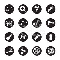 Bicycle Parts Icons Black Circle Series Vector EPS File.