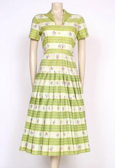 Original VINTAGE Late 1940 s early 50 s GREEN PRINTED SAMBO Cotton Dress! UK 8    £105.00 (BIN)