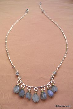 Wire Wrapped Labradorite Necklace  Gold Scroll by BellantiJewelry, $85.00