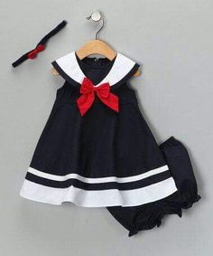 Navy Nautical Dress Set - Infant, Toddler & Girls by Good Lad on zulilyNavy Nautical Dress Set - Adorable a salute to daddy!Just like an outfit I had when I was a baby. Navy Nautical Dress Set from Good Lad oncute [from Good Lad on SO cute! Little Girl Outfits, Little Girl Fashion, Little Girl Dresses, Kids Fashion, Girls Dresses, Baby Dresses, Peasant Dresses, Toddler Fashion, Nautical Dress