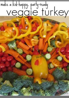 Here's a fun food idea for the kids that is perfect to use for Thanksgiving! Make this veggie turkey: it's kid happy, and they can even participate in making this cute turkey. Pin this now for an easy Thanksgiving appetizer to make with the kiddos. Add some veggie dip and you've got a fun kid holiday snack. #teachmama #fall #recipes #activities #kids #thanksgiving #family