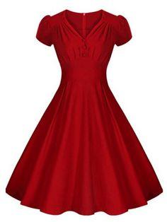 Vintage V-Neck Short Sleeve Pure Color Ruched Women's Dress