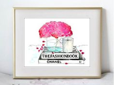 """Fashion Illustration Watercolor Painting Print by KelseyMDesigns, $15.00  5x7"""" TV stand; gold cube"""