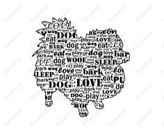 PERSONALIZED Pomeranian Dog Silhouette Pomeranian Word Art Print 8 X 10 Calligram Pomeranian Dog Print Pet Gifts