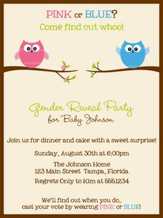 Gender Reveal Party Invites Owl Baby Shower by TheInviteLadyShop, $15.00